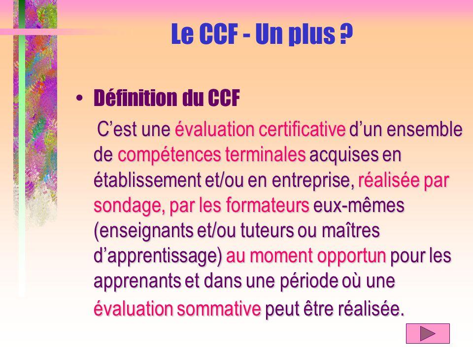 Définition du CCF Cest une évaluation certificative dun ensemble de compétences terminales acquises en établissement et/ou en entreprise, réalisée par