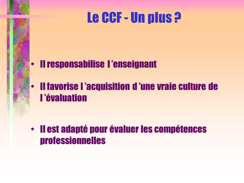 Cohérence des outils de formation et d évaluation Il s intègre dans une progression pédagogique respectant les différents rythmes d acquisition Le CCF - Un plus .