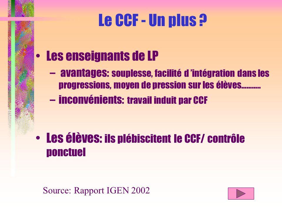 Conditions de mise en œuvre Le CCF, F … fait référence à la … FORMATION !...