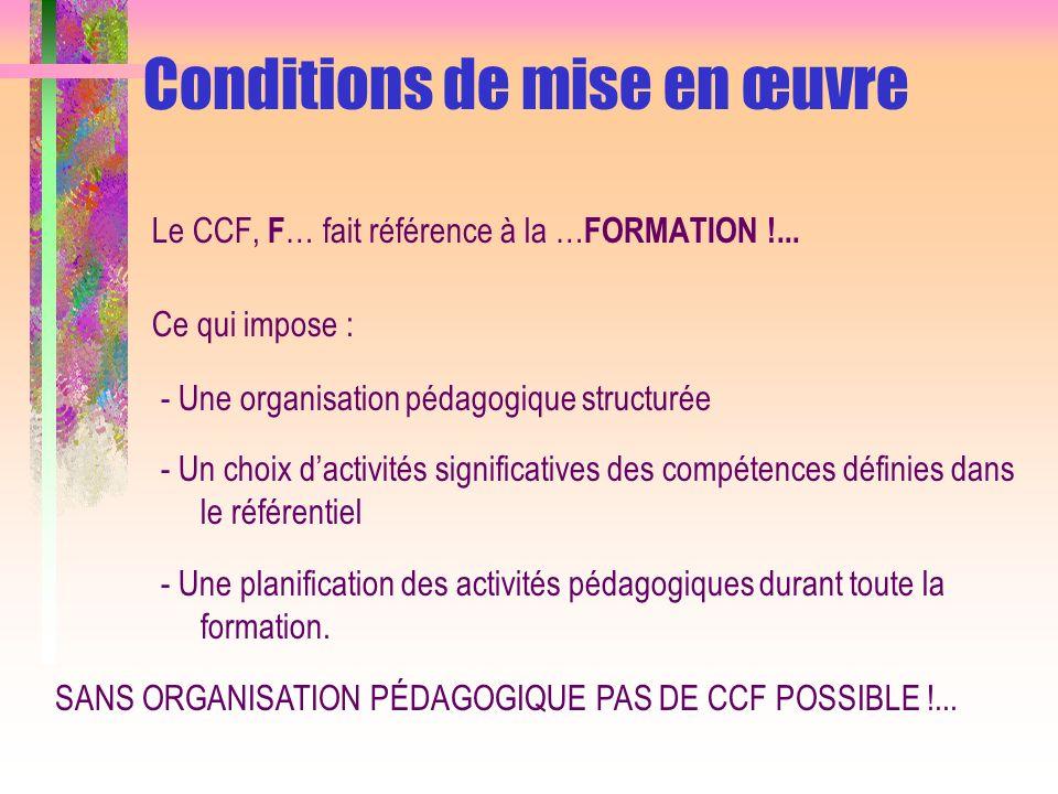 Conditions de mise en œuvre Le CCF, F … fait référence à la … FORMATION !... Ce qui impose : - Une organisation pédagogique structurée - Un choix dact
