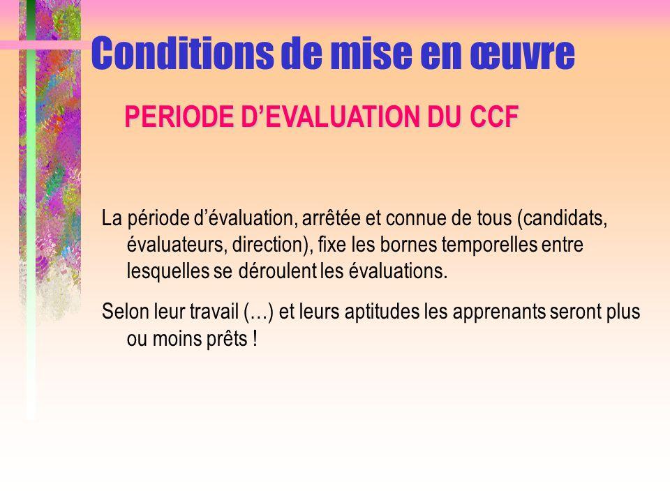 La mise en œuvre du CCF sappuie sur la notion de « situation dévaluation » La situation dévaluation permet la réalisation dune activité dans un contexte donné Son objectif est dévaluer les compétences et les savoirs Conditions de mise en œuvre SITUATION DEVALUATION DU CCF