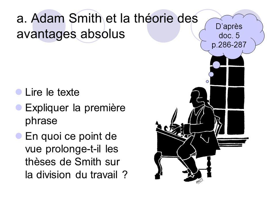 a. Adam Smith et la théorie des avantages absolus Lire le texte Expliquer la première phrase En quoi ce point de vue prolonge-t-il les thèses de Smith