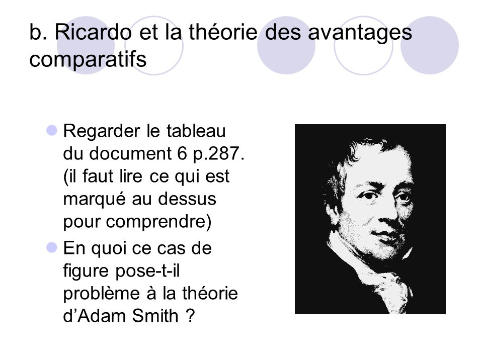 b. Ricardo et la théorie des avantages comparatifs Regarder le tableau du document 6 p.287. (il faut lire ce qui est marqué au dessus pour comprendre)