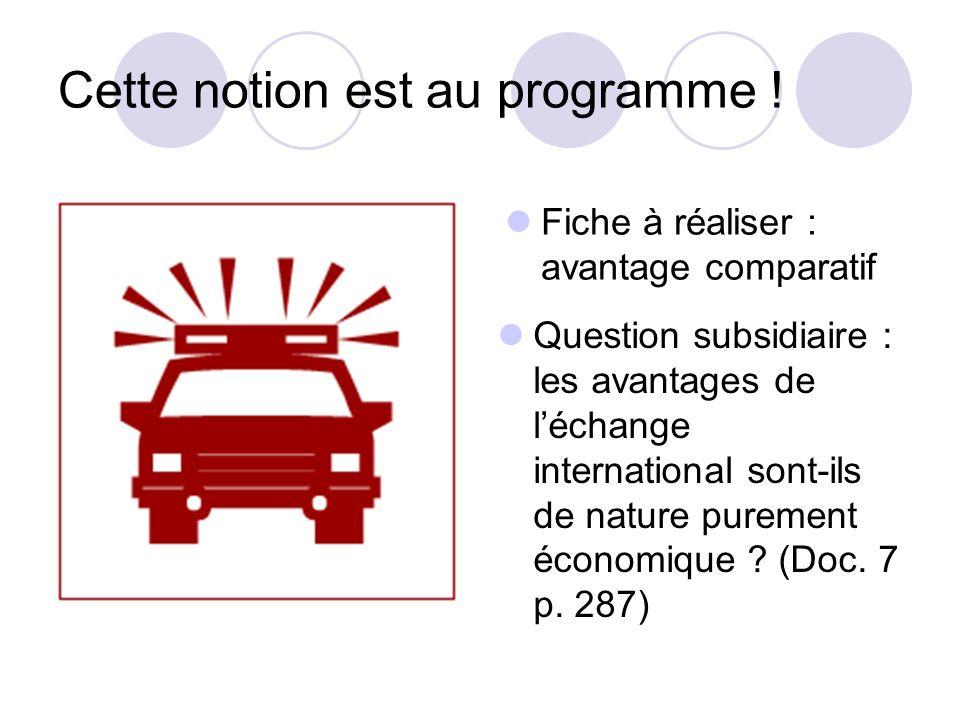 Cette notion est au programme ! Fiche à réaliser : avantage comparatif Question subsidiaire : les avantages de léchange international sont-ils de natu
