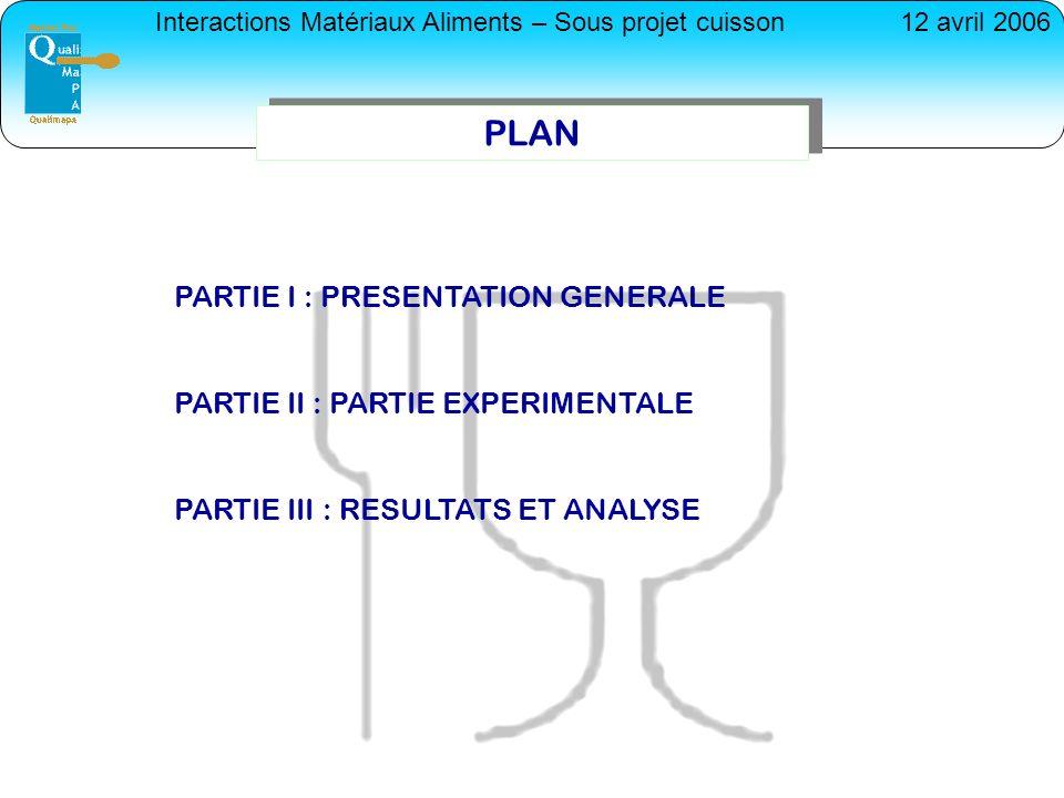 Interactions Matériaux Aliments – Sous projet cuisson12 avril 2006 PLAN PARTIE I : PRESENTATION GENERALE PARTIE II : PARTIE EXPERIMENTALE PARTIE III :