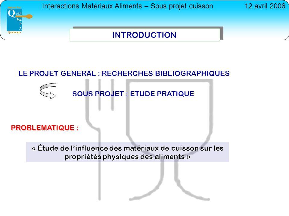 Interactions Matériaux Aliments – Sous projet cuisson12 avril 2006 I-PRESENTATION GENERALE MATERIAUX AluminiumFonteVerreSilicone