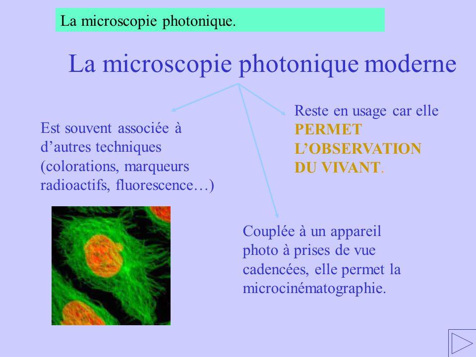 Reste en usage car elle PERMET LOBSERVATION DU VIVANT. Couplée à un appareil photo à prises de vue cadencées, elle permet la microcinématographie. Est