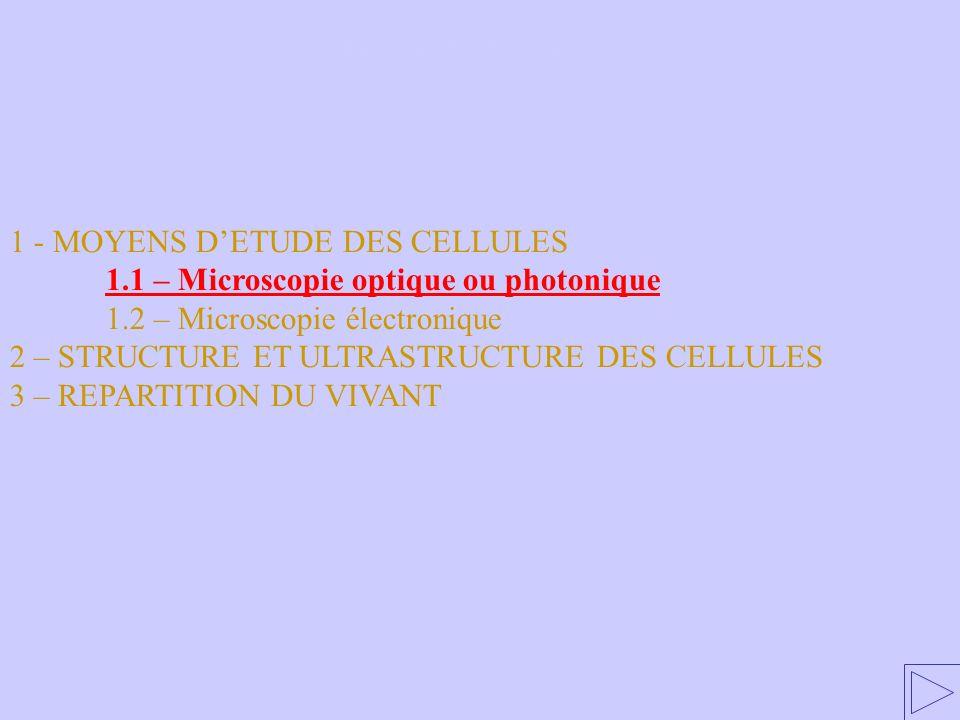 1 - MOYENS DETUDE DES CELLULES 1.1 – Microscopie optique ou photonique 1.2 – Microscopie électronique 2 – STRUCTURE ET ULTRASTRUCTURE DES CELLULES 3 – REPARTITION DU VIVANT 1.1 – Microscopie optique ou photonique
