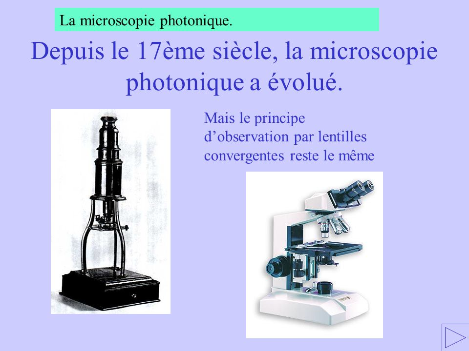 Mais le principe dobservation par lentilles convergentes reste le même La microscopie photonique. Depuis le 17ème siècle, la microscopie photonique a