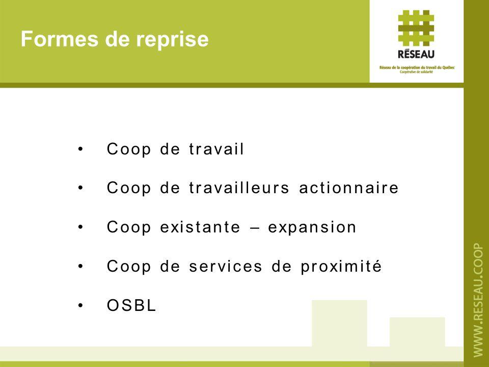 Formes de reprise Coop de travail Coop de travailleurs actionnaire Coop existante – expansion Coop de services de proximité OSBL