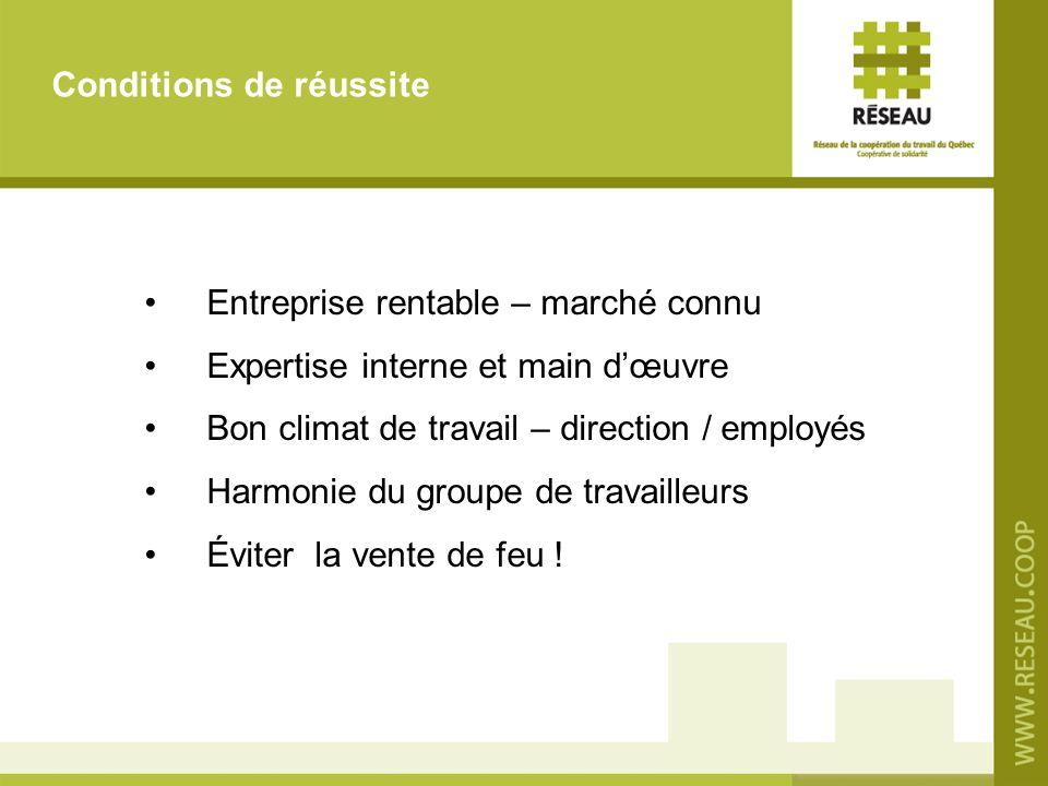 Entreprise rentable – marché connu Expertise interne et main dœuvre Bon climat de travail – direction / employés Harmonie du groupe de travailleurs Év