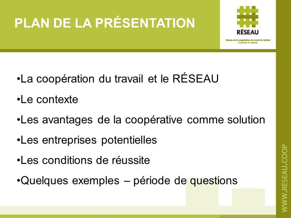 PLAN DE LA PRÉSENTATION La coopération du travail et le RÉSEAU Le contexte Les avantages de la coopérative comme solution Les entreprises potentielles