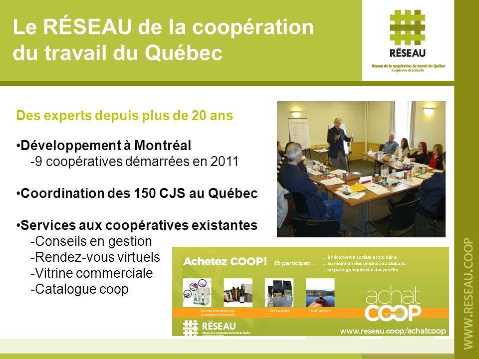 Le RÉSEAU de la coopération du travail du Québec Des experts depuis plus de 20 ans Développement à Montréal -9 coopératives démarrées en 2011 Coordina
