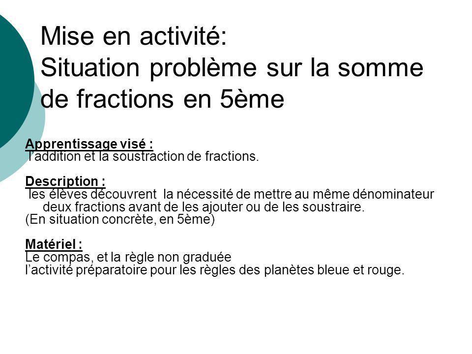 Mise en activité: Situation problème sur la somme de fractions en 5ème Apprentissage visé : laddition et la soustraction de fractions.