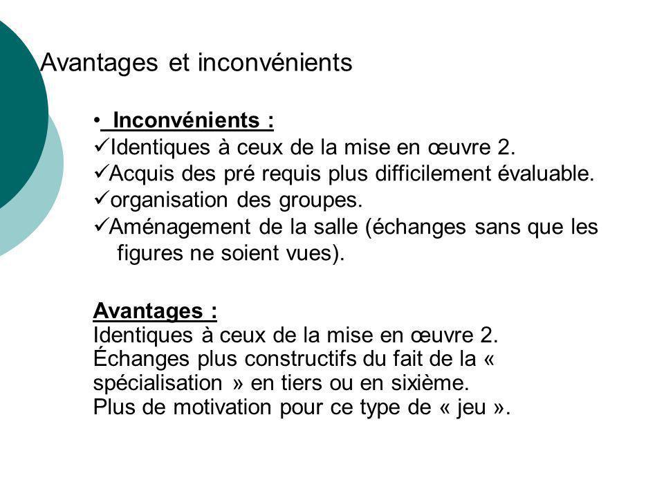 Avantages et inconvénients Avantages : Identiques à ceux de la mise en œuvre 2.