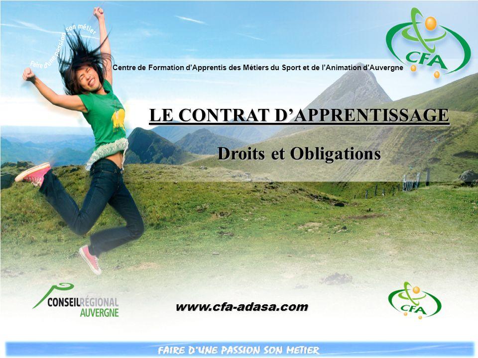 LE CONTRAT DAPPRENTISSAGE Droits et Obligations Centre de Formation dApprentis des Métiers du Sport et de lAnimation dAuvergne www.cfa-adasa.com www.cfa-adasa.com