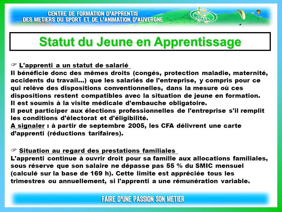 L'apprenti a un statut de salarié Il bénéficie donc des mêmes droits (congés, protection maladie, maternité, accidents du travail...) que les salariés