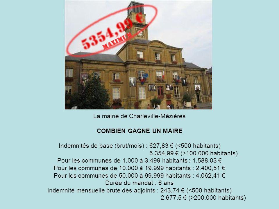 La mairie de Charleville-Mézières COMBIEN GAGNE UN MAIRE Indemnités de base (brut/mois) : 627,83 ( 100.000 habitants) Pour les communes de 1.000 à 3.4