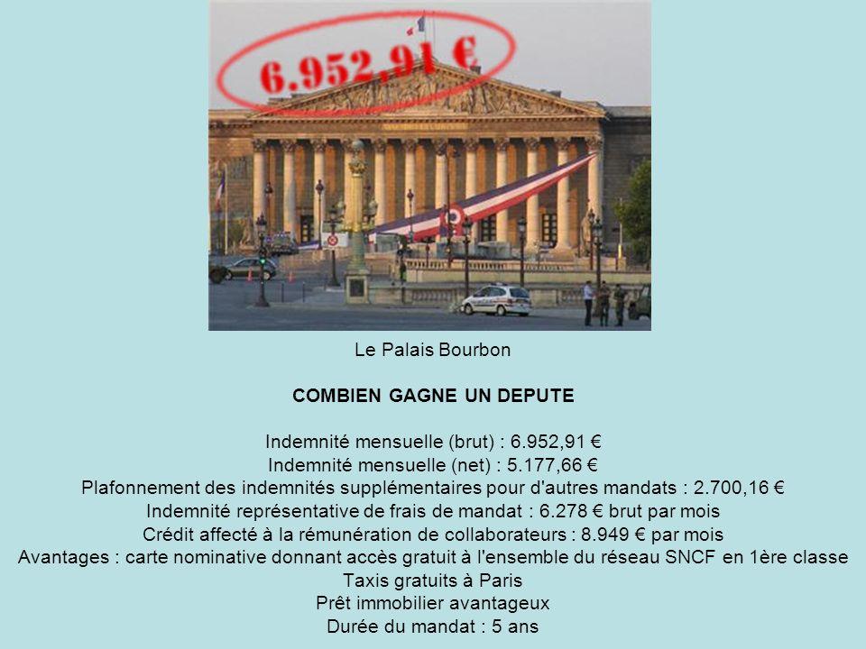 Le Palais Bourbon COMBIEN GAGNE UN DEPUTE Indemnité mensuelle (brut) : 6.952,91 Indemnité mensuelle (net) : 5.177,66 Plafonnement des indemnités suppl