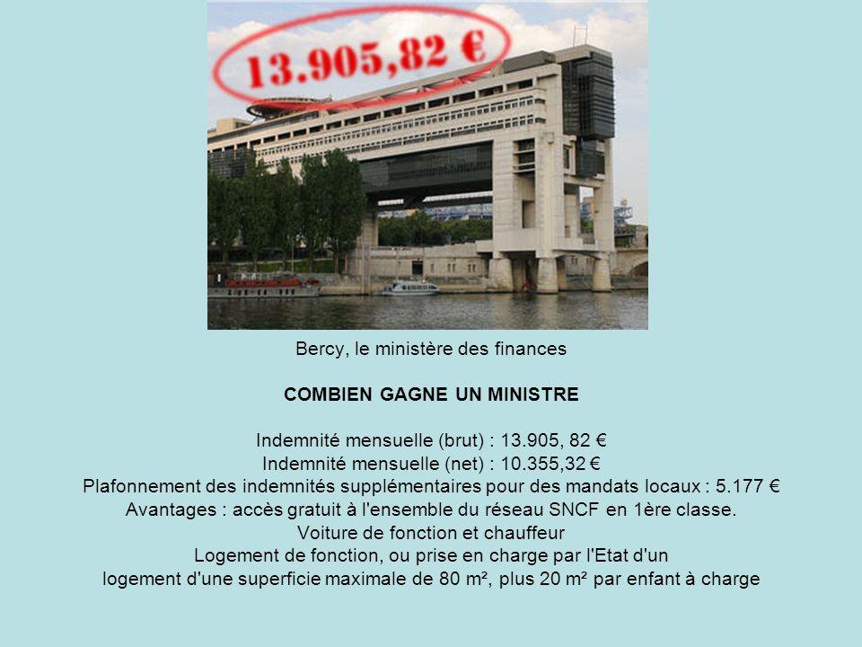 Bercy, le ministère des finances COMBIEN GAGNE UN MINISTRE Indemnité mensuelle (brut) : 13.905, 82 Indemnité mensuelle (net) : 10.355,32 Plafonnement