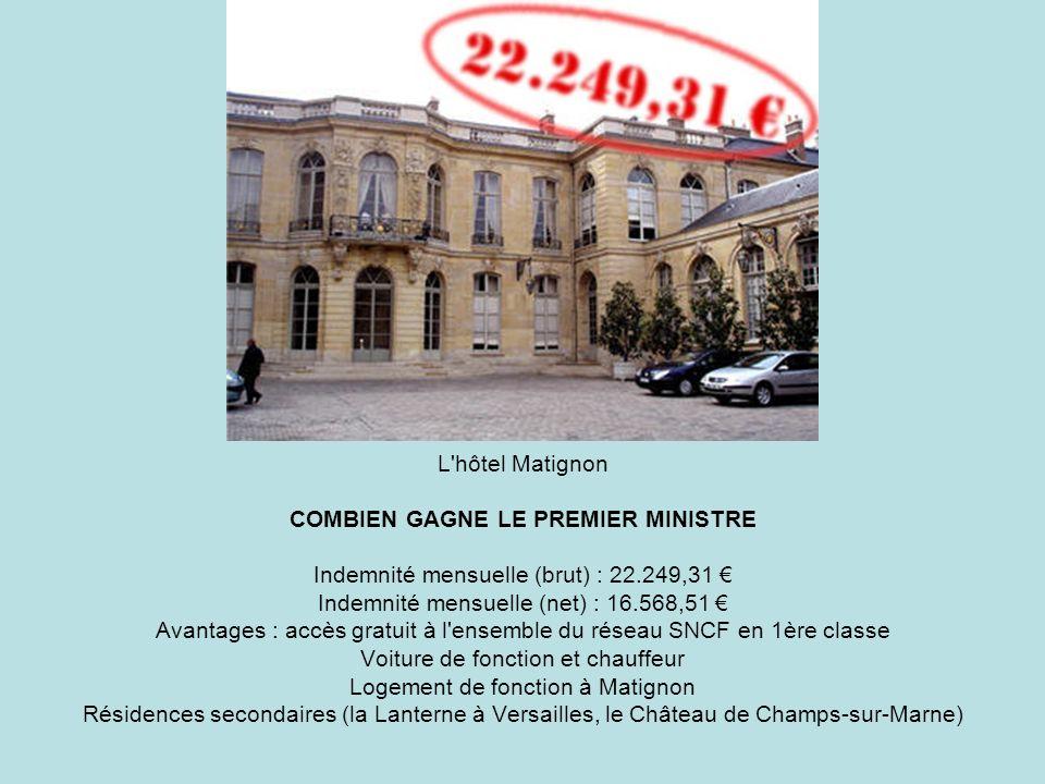 L'hôtel Matignon COMBIEN GAGNE LE PREMIER MINISTRE Indemnité mensuelle (brut) : 22.249,31 Indemnité mensuelle (net) : 16.568,51 Avantages : accès grat