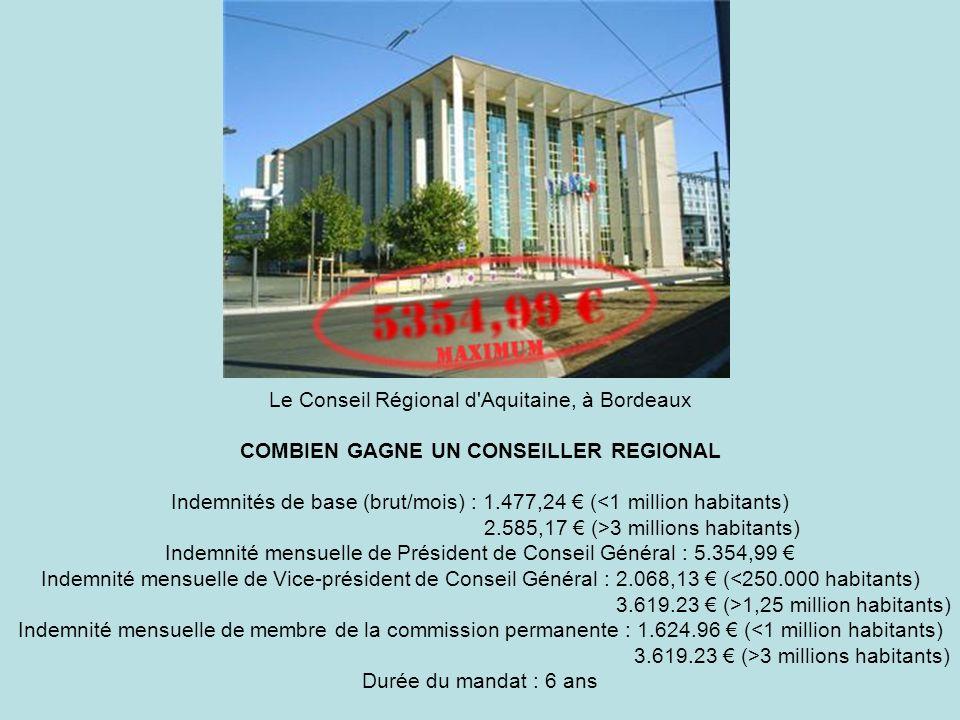 Le Conseil Régional d'Aquitaine, à Bordeaux COMBIEN GAGNE UN CONSEILLER REGIONAL Indemnités de base (brut/mois) : 1.477,24 ( 3 millions habitants) Ind