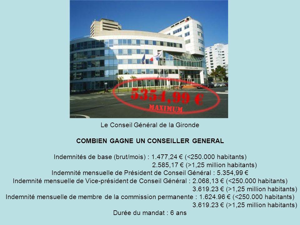 Le Conseil Général de la Gironde COMBIEN GAGNE UN CONSEILLER GENERAL Indemnités de base (brut/mois) : 1.477,24 ( 1,25 million habitants) Indemnité men