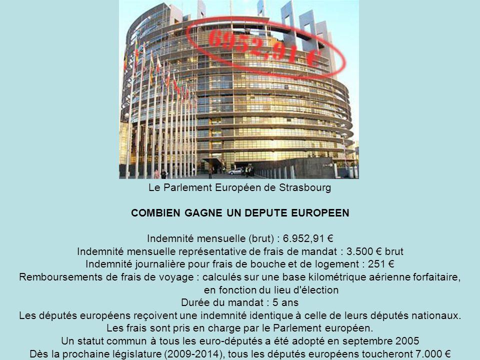 Le Parlement Européen de Strasbourg COMBIEN GAGNE UN DEPUTE EUROPEEN Indemnité mensuelle (brut) : 6.952,91 Indemnité mensuelle représentative de frais