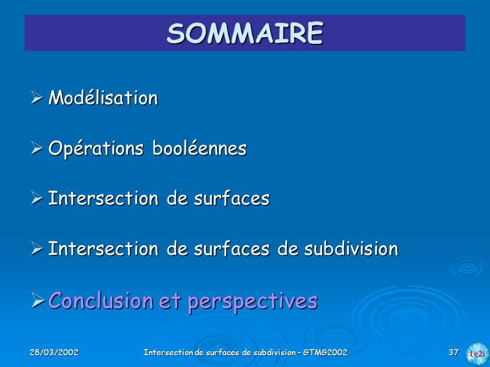 28/03/2002Intersection de surfaces de subdivision - GTMG200237 SOMMAIRE Modélisation Modélisation Opérations booléennes Opérations booléennes Intersec