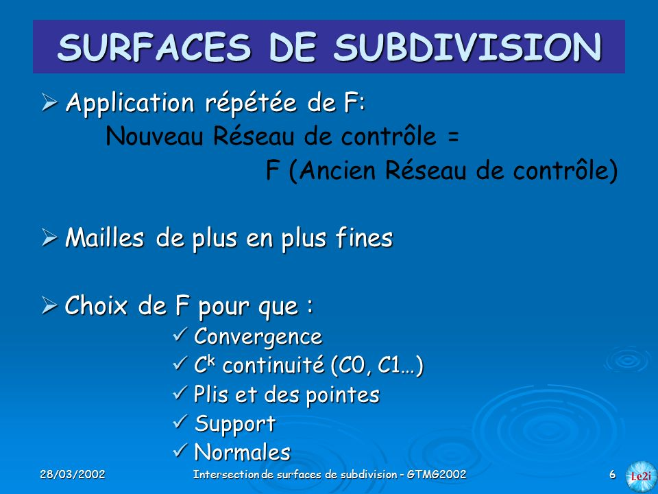 28/03/2002Intersection de surfaces de subdivision - GTMG20026 SURFACES DE SUBDIVISION Application répétée de F: Application répétée de F: Nouveau Rése