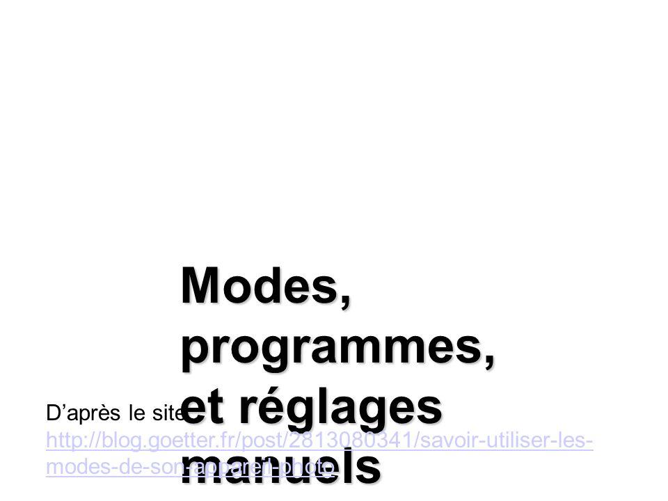 Modes, programmes, et réglages manuels Daprès le site : http://blog.goetter.fr/post/2813080341/savoir-utiliser-les- modes-de-son-appareil-photo http:/