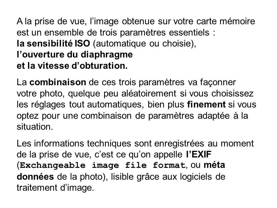 A la prise de vue, limage obtenue sur votre carte mémoire est un ensemble de trois paramètres essentiels : la sensibilité ISO (automatique ou choisie)