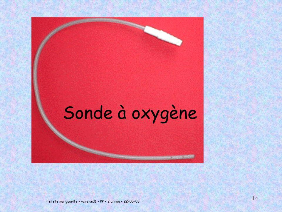 ifsi ste marguerite - version01 - PP - 2 année - 22/05/03 14 Sonde à oxygène