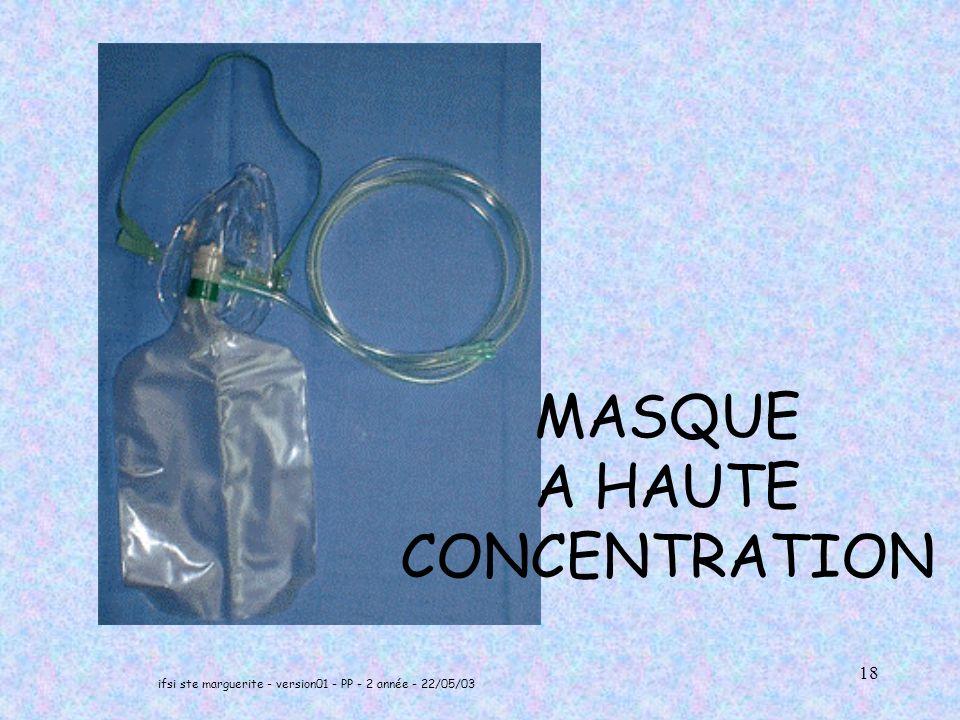 ifsi ste marguerite - version01 - PP - 2 année - 22/05/03 18 MASQUE A HAUTE CONCENTRATION