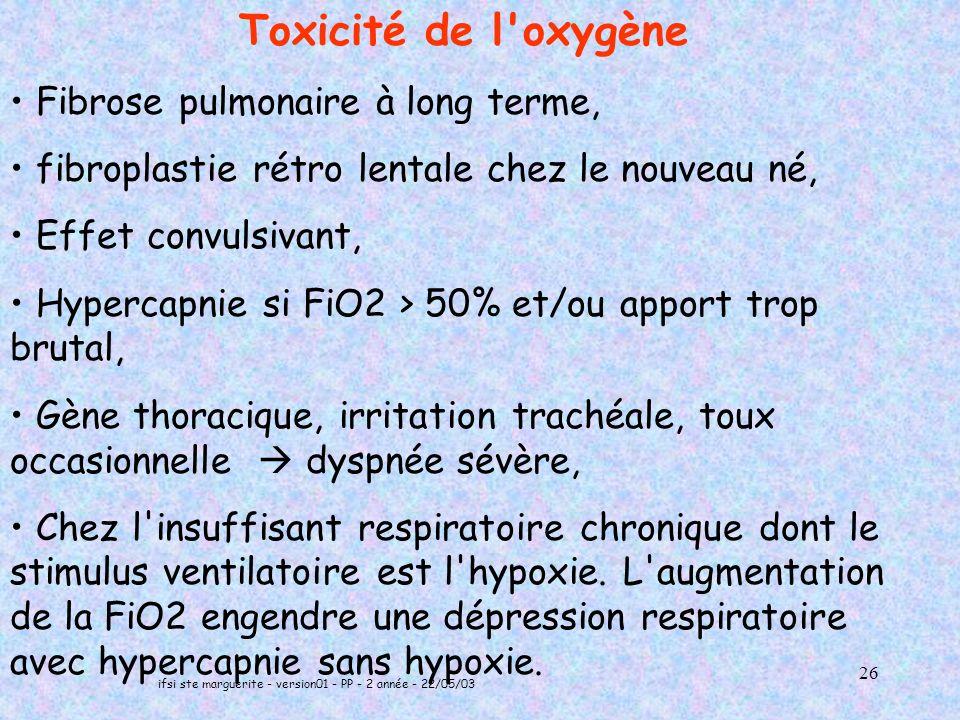 ifsi ste marguerite - version01 - PP - 2 année - 22/05/03 26 Toxicité de l oxygène Fibrose pulmonaire à long terme, fibroplastie rétro lentale chez le nouveau né, Effet convulsivant, Hypercapnie si FiO2 > 50% et/ou apport trop brutal, Gène thoracique, irritation trachéale, toux occasionnelle dyspnée sévère, Chez l insuffisant respiratoire chronique dont le stimulus ventilatoire est l hypoxie.