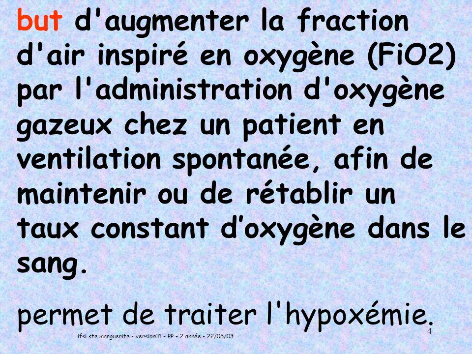 ifsi ste marguerite - version01 - PP - 2 année - 22/05/03 4 but d augmenter la fraction d air inspiré en oxygène (FiO2) par l administration d oxygène gazeux chez un patient en ventilation spontanée, afin de maintenir ou de rétablir un taux constant doxygène dans le sang.