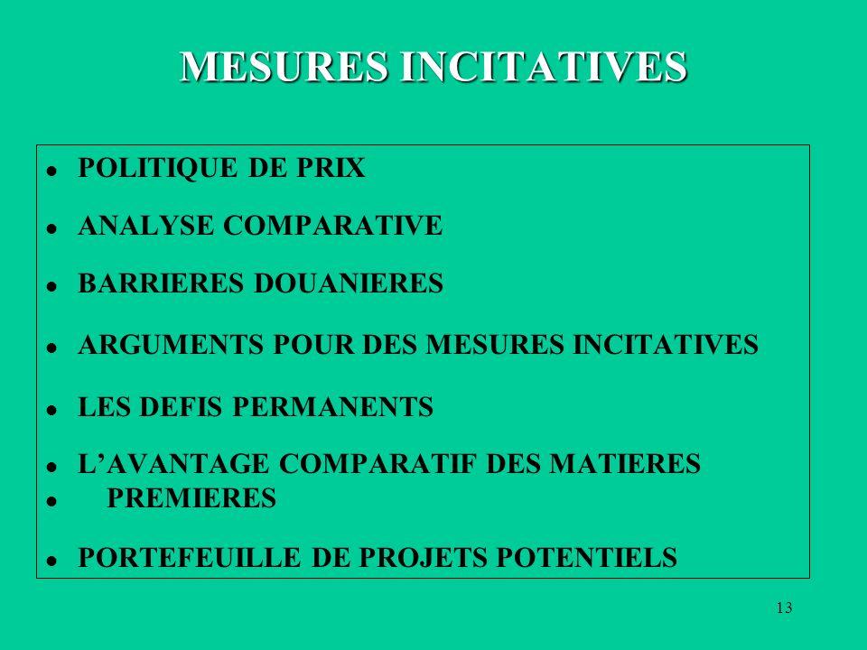 13 MESURES INCITATIVES l POLITIQUE DE PRIX l ANALYSE COMPARATIVE l BARRIERES DOUANIERES l ARGUMENTS POUR DES MESURES INCITATIVES l LES DEFIS PERMANENTS l LAVANTAGE COMPARATIF DES MATIERES l PREMIERES l PORTEFEUILLE DE PROJETS POTENTIELS