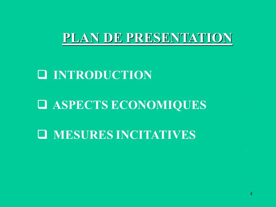 4 INTRODUCTION ASPECTS ECONOMIQUES MESURES INCITATIVES PLAN DE PRESENTATION
