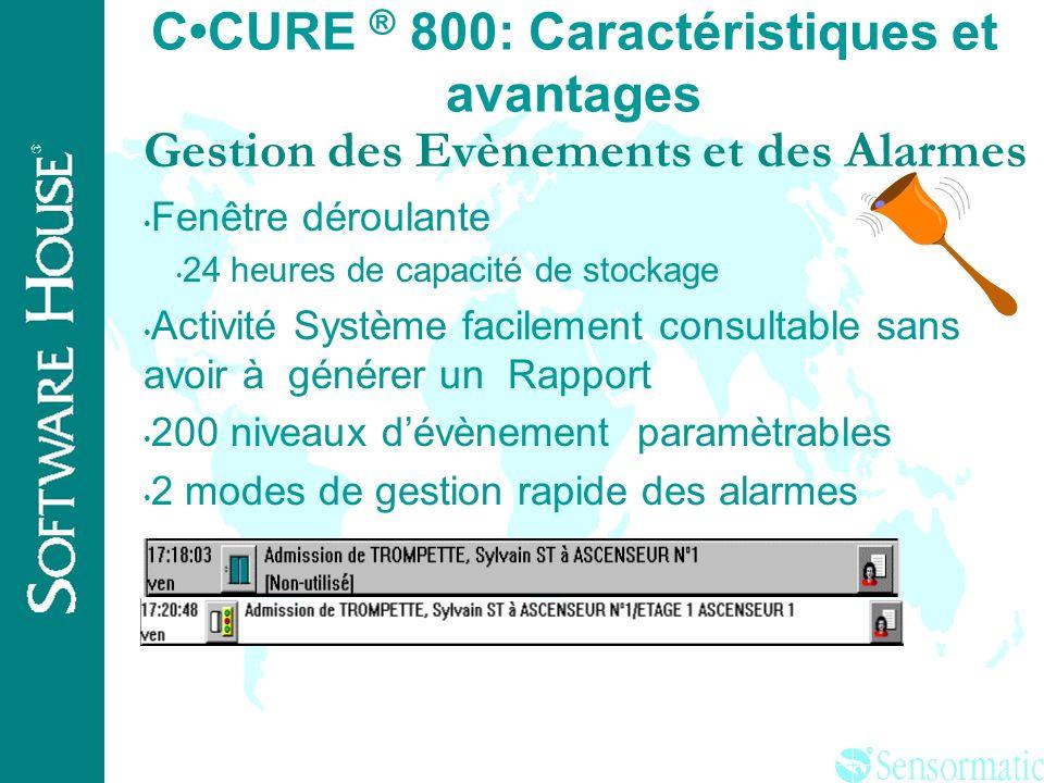 ® CCURE ® 800: Caractéristiques et avantages Base de donnée personnel Fiche employé Nom sur 3 champs Personnalisation du badge intégré dans la fiche G