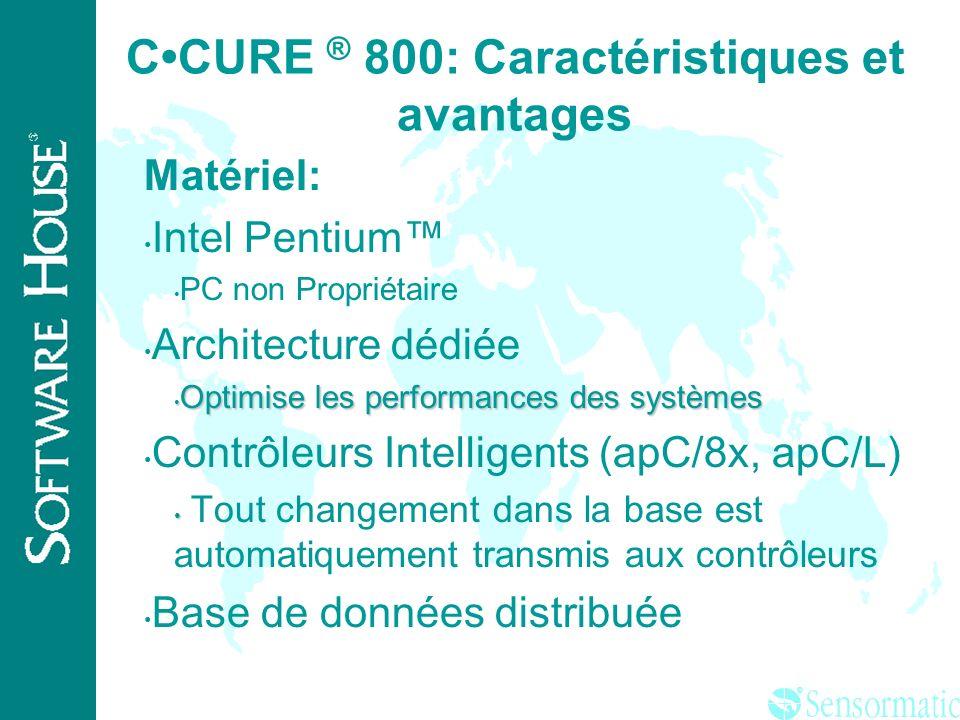 ® CCURE ® 800: Caractéristiques et avantages Aide en ligne Aide avec liens Hypertext ( Champs Sensitifs) Accélère les temps dapprentissage Minimise le