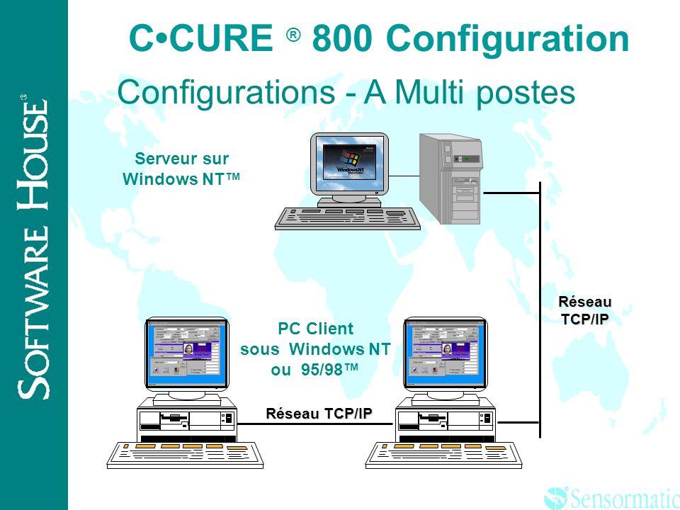 ® CCURE ® 800 Configuration Configuration A Serveur/Client sur le PC sous Windows NT Mono poste Configuration B PC Serveur sous Windows NT + Client dé