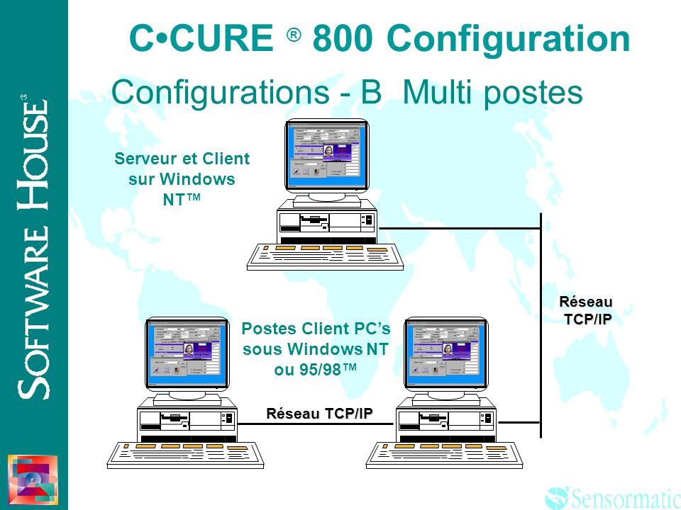 ® CCURE ® 800 Configuration Serveur sur Windows NT PC Client sous Windows NT ou 95/98 Réseau TCP/IP Configurations - A Multi postes RéseauTCP/IP