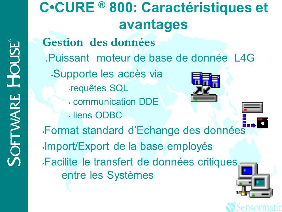 ® 800/20 8 256 1024 800/30 16 512 2500 800/40 64 1000 5 000 Capacité de 250,000 badges Modèle PC clients simultanés Nb de lecteurs Nb entrées Nb de so