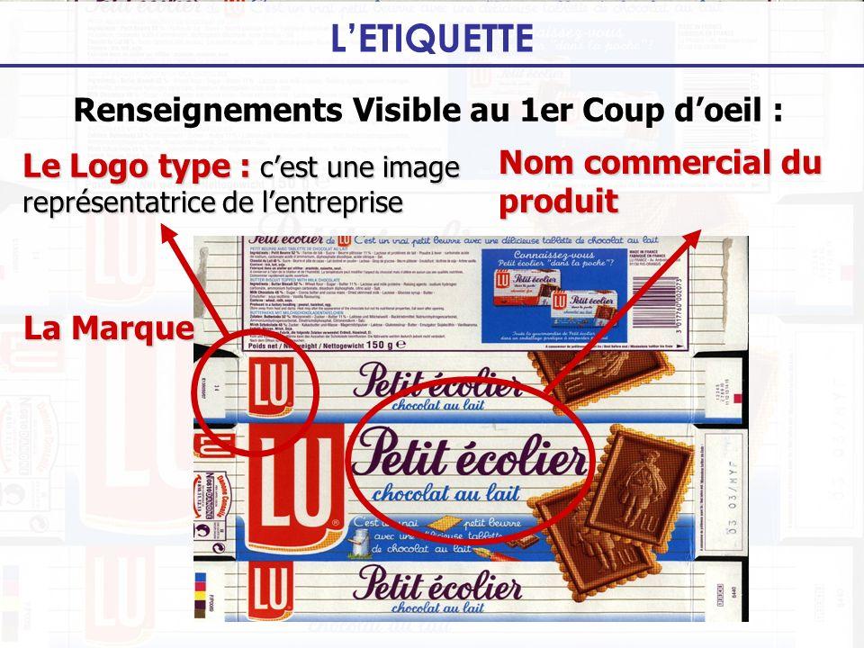 LETIQUETTE Renseignements Visible au 1er Coup doeil : Le Logo type : cest une image représentatrice de lentreprise La Marque Nom commercial du produit