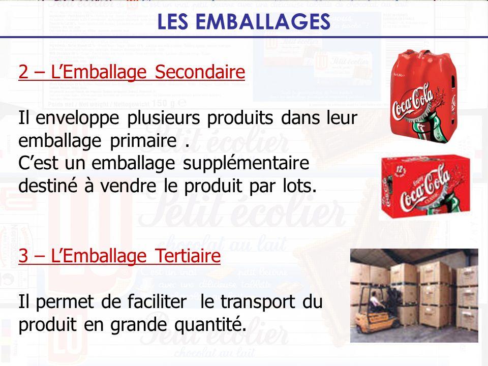 LES EMBALLAGES 2 – LEmballage Secondaire Il enveloppe plusieurs produits dans leur emballage primaire. Cest un emballage supplémentaire destiné à vend