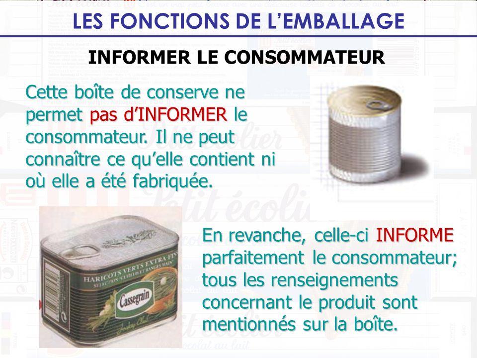 LES FONCTIONS DE LEMBALLAGE INFORMER LE CONSOMMATEUR Cette boîte de conserve ne permet pas dINFORMER le consommateur. Il ne peut connaître ce quelle c