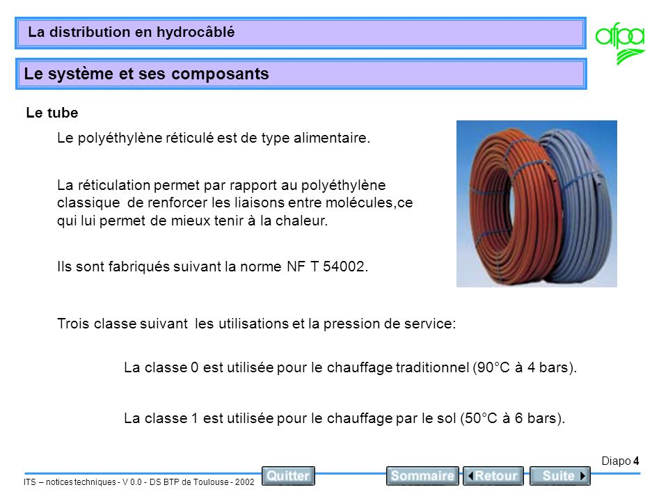 Diapo 4 ITS – notices techniques - V 0.0 - DS BTP de Toulouse - 2002 La distribution en hydrocâblé Le système et ses composants Le tube Le polyéthylène réticulé est de type alimentaire.