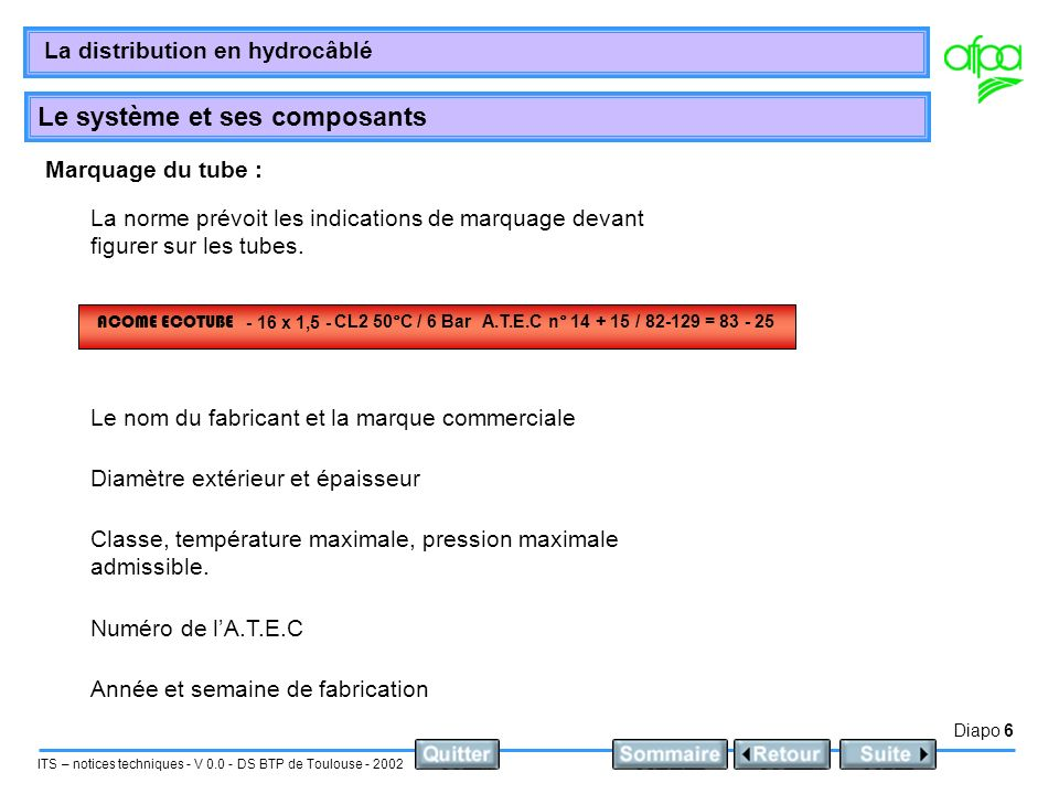 Diapo 6 ITS – notices techniques - V 0.0 - DS BTP de Toulouse - 2002 La distribution en hydrocâblé Le système et ses composants Marquage du tube : La