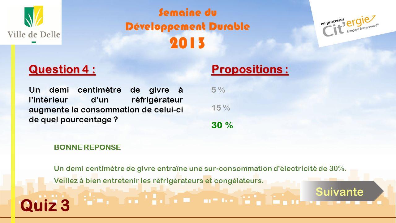 Semaine du Développement Durable 2013 Quiz 3 Question 4 : 5 % 30 % 15 % Propositions : Cliquez sur la réponse de votre choix Un demi centimètre de givre à lintérieur dun réfrigérateur augmente la consommation de celui-ci de quel pourcentage