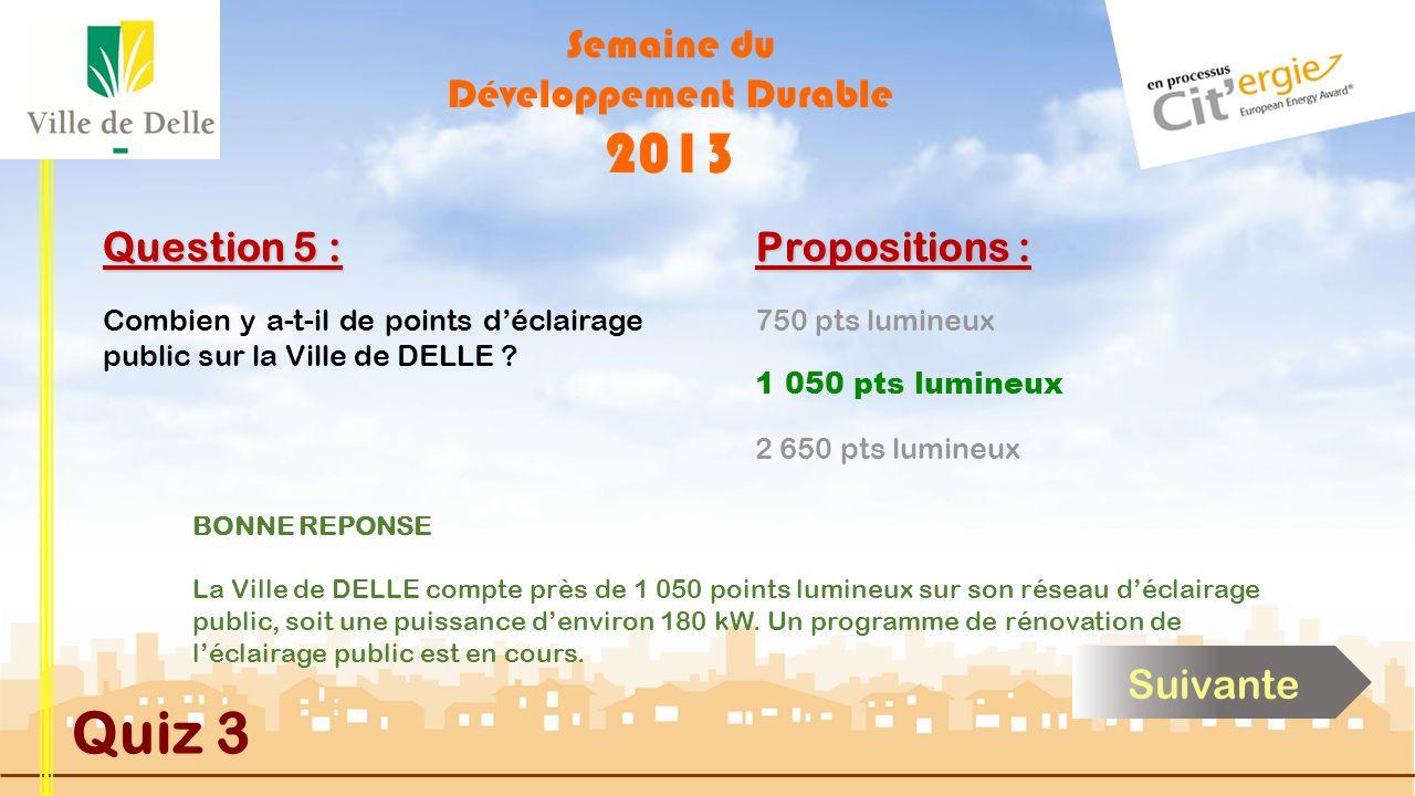 Semaine du Développement Durable 2013 Quiz 3 Question 5 : Combien y a-t-il de points déclairage public sur la Ville de DELLE .